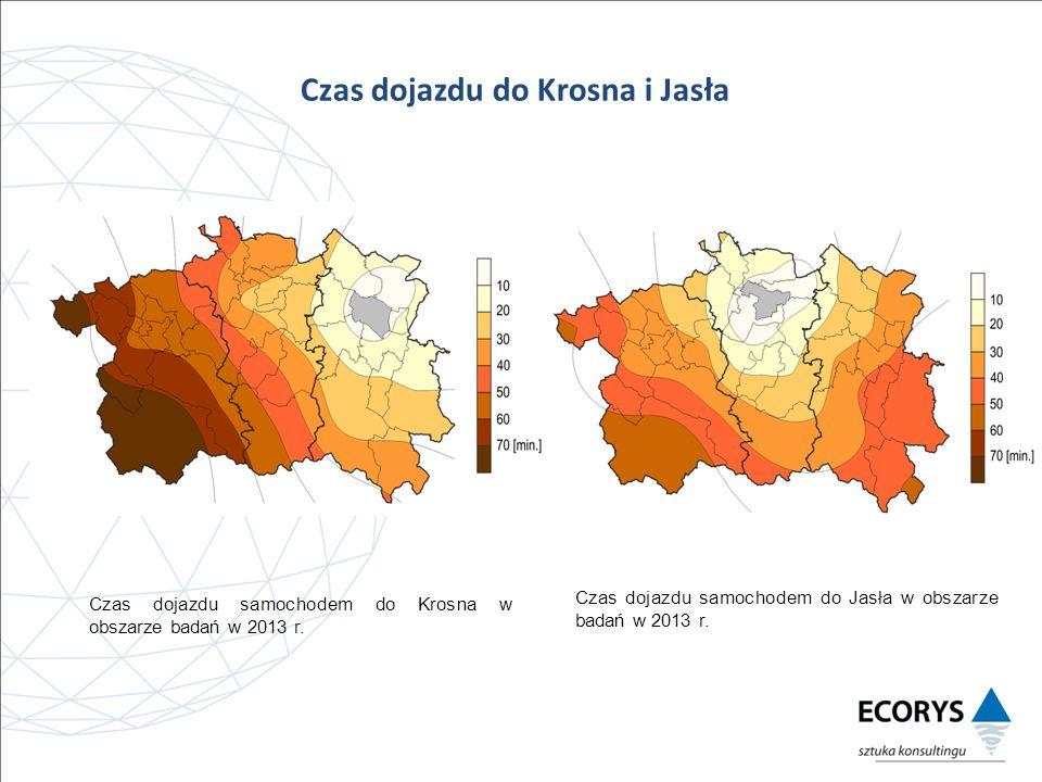 Czas dojazdu do Krosna i Jasła Czas dojazdu samochodem do Krosna w obszarze badań w 2013 r.