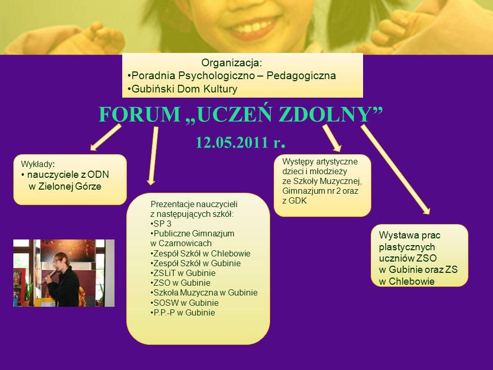 """FORUM """"UCZEŃ ZDOLNY"""" 12.05.2011 r. Organizacja: Poradnia Psychologiczno – Pedagogiczna Gubiński Dom Kultury Wykłady: nauczyciele z ODN w Zielonej Górz"""