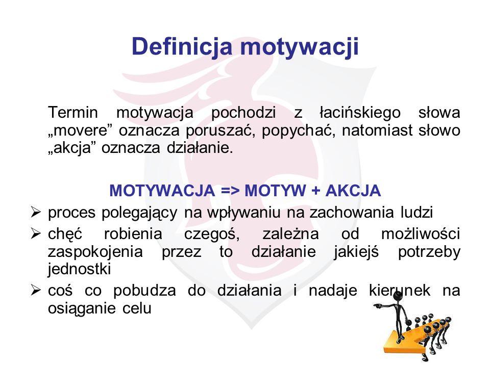"""Definicja motywacji Termin motywacja pochodzi z łacińskiego słowa """"movere"""" oznacza poruszać, popychać, natomiast słowo """"akcja"""" oznacza działanie. MOTY"""