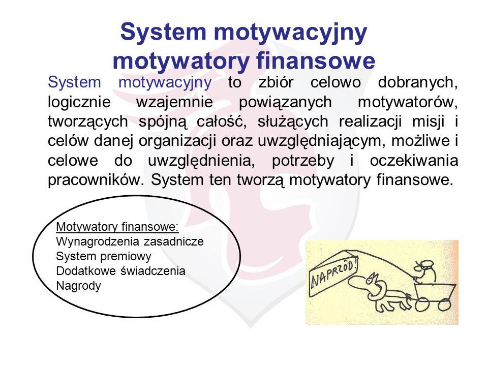 System motywacyjny motywatory finansowe System motywacyjny to zbiór celowo dobranych, logicznie wzajemnie powiązanych motywatorów, tworzących spójną c