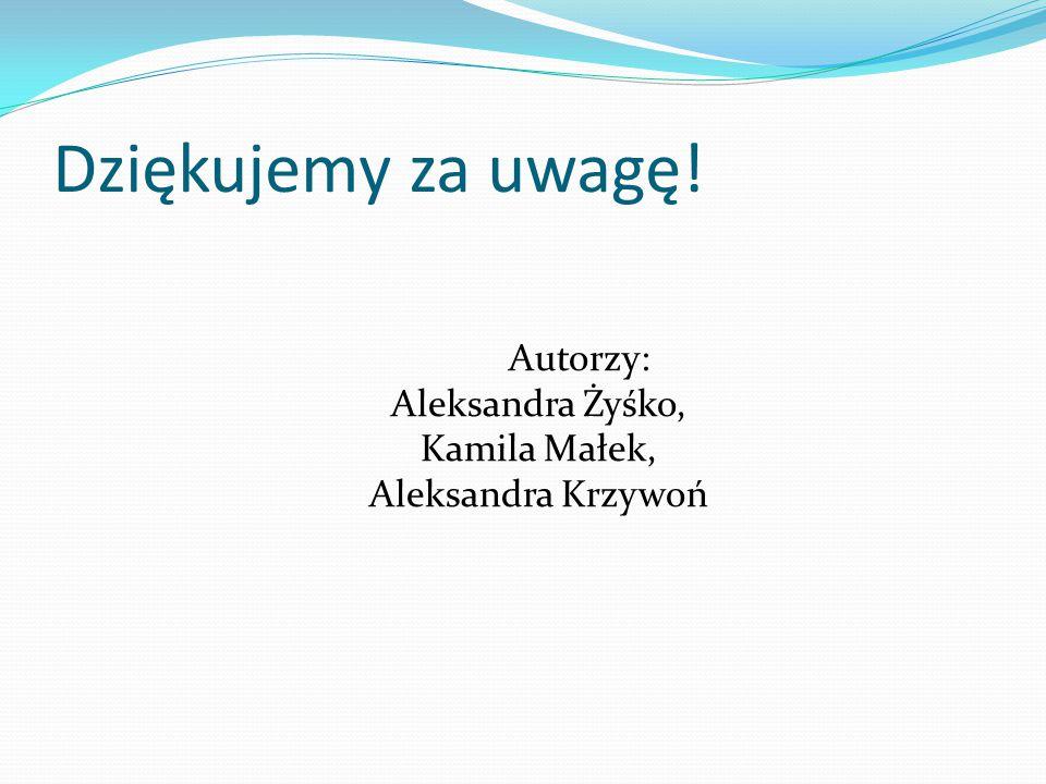Dziękujemy za uwagę! Autorzy: Aleksandra Żyśko, Kamila Małek, Aleksandra Krzywoń