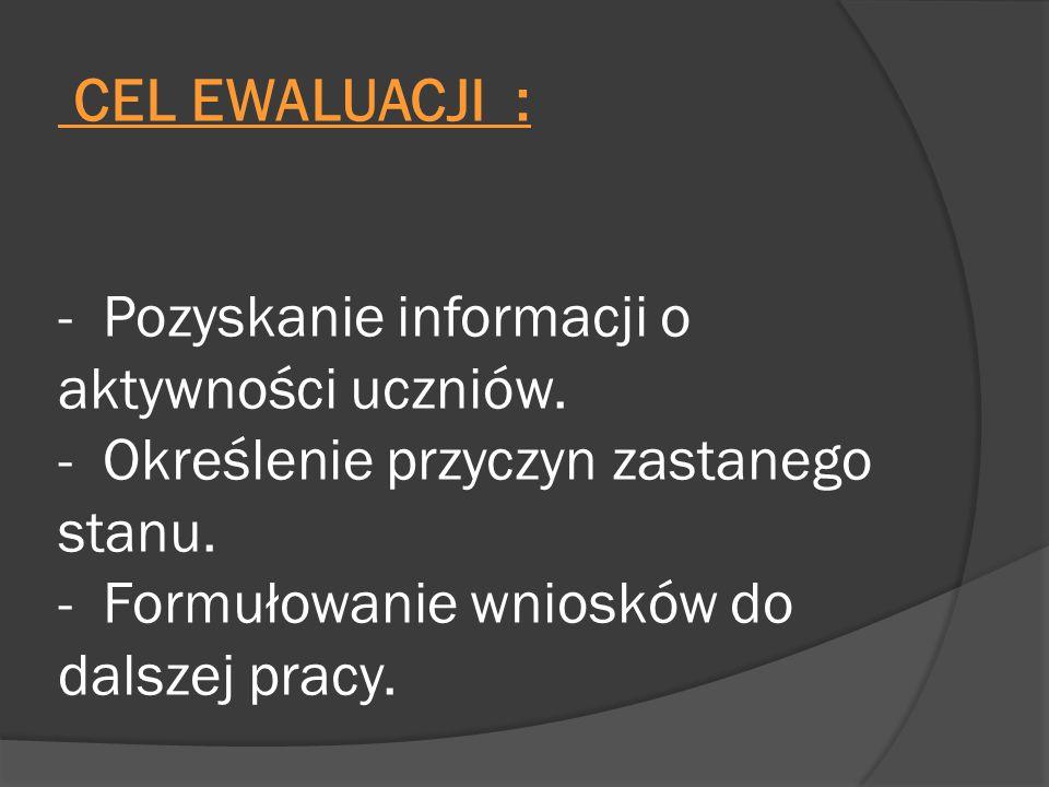 CEL EWALUACJI : - Pozyskanie informacji o aktywności uczniów. - Określenie przyczyn zastanego stanu. - Formułowanie wniosków do dalszej pracy.