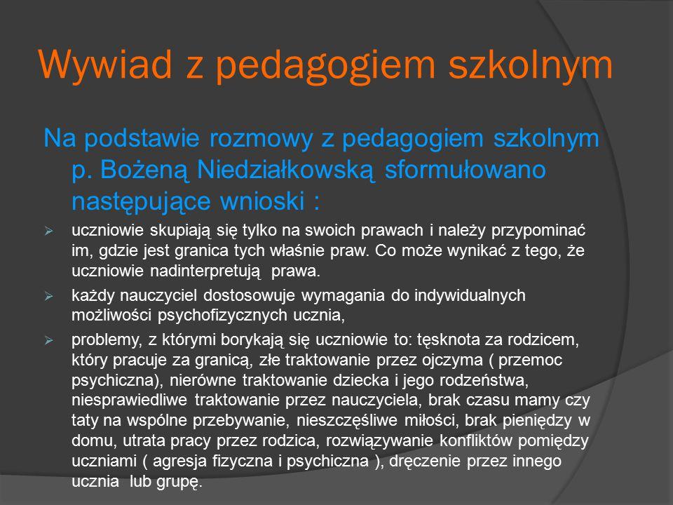 Wywiad z pedagogiem szkolnym Na podstawie rozmowy z pedagogiem szkolnym p. Bożeną Niedziałkowską sformułowano następujące wnioski :  uczniowie skupia