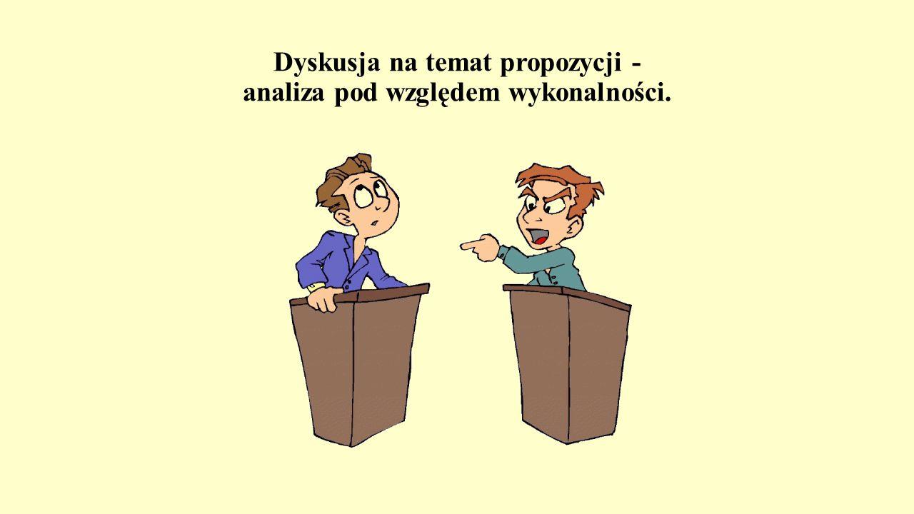 Dyskusja na temat propozycji - analiza pod względem wykonalności.