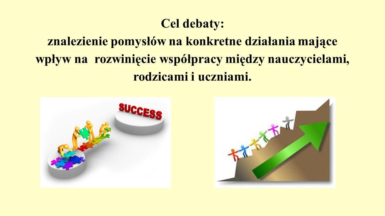 Cel debaty: znalezienie pomysłów na konkretne działania mające wpływ na rozwinięcie współpracy między nauczycielami, rodzicami i uczniami.