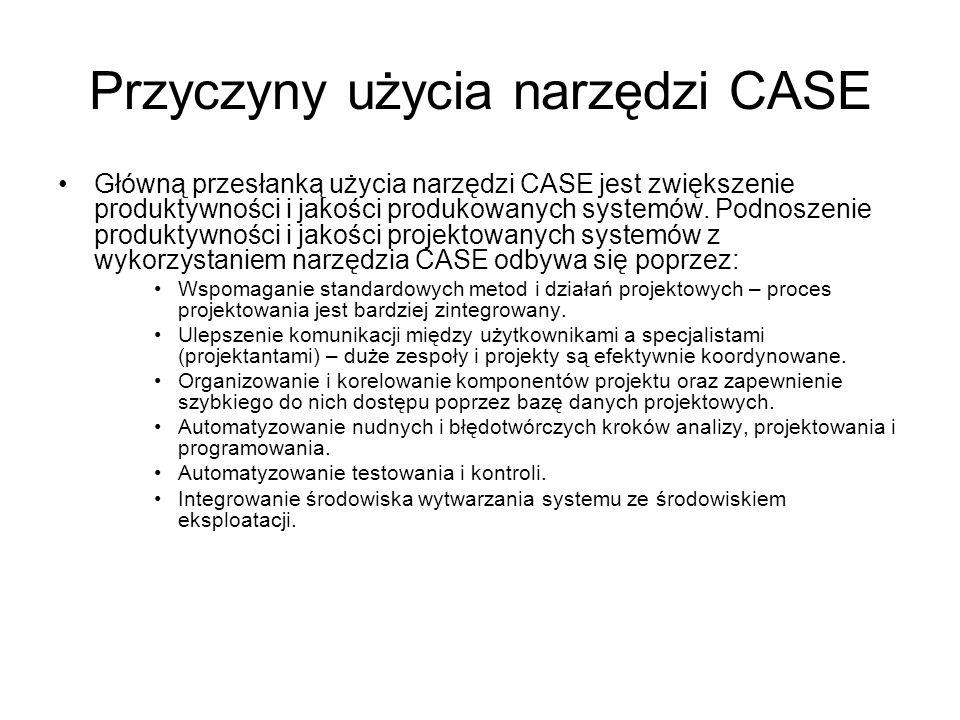 Przyczyny użycia narzędzi CASE Główną przesłanką użycia narzędzi CASE jest zwiększenie produktywności i jakości produkowanych systemów. Podnoszenie pr