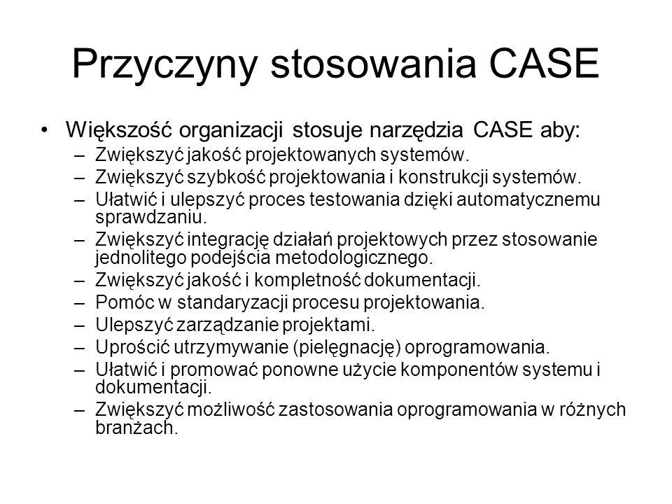 Przyczyny stosowania CASE Większość organizacji stosuje narzędzia CASE aby: –Zwiększyć jakość projektowanych systemów. –Zwiększyć szybkość projektowan