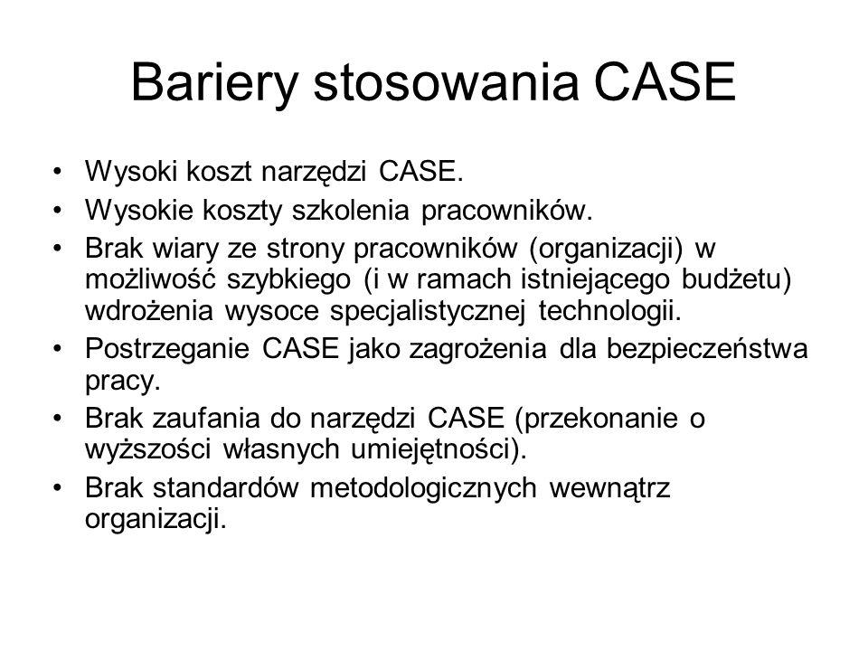 Bariery stosowania CASE Wysoki koszt narzędzi CASE. Wysokie koszty szkolenia pracowników. Brak wiary ze strony pracowników (organizacji) w możliwość s