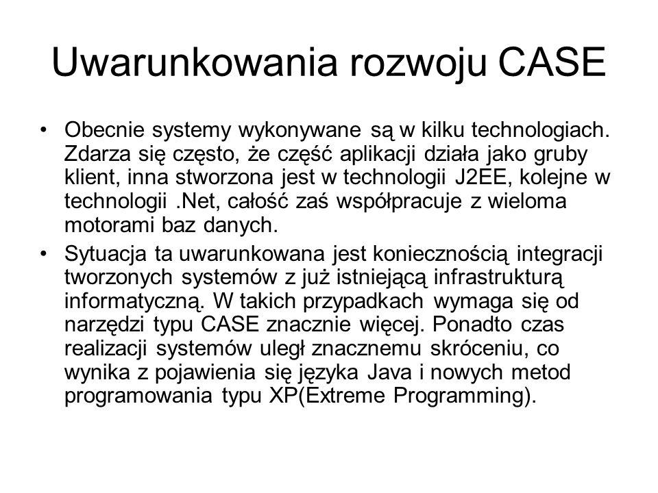 Uwarunkowania rozwoju CASE Obecnie systemy wykonywane są w kilku technologiach. Zdarza się często, że część aplikacji działa jako gruby klient, inna s