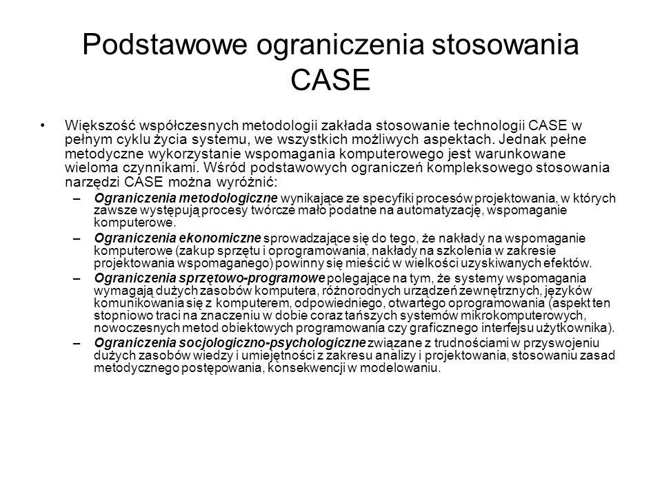 Podstawowe ograniczenia stosowania CASE Większość współczesnych metodologii zakłada stosowanie technologii CASE w pełnym cyklu życia systemu, we wszys