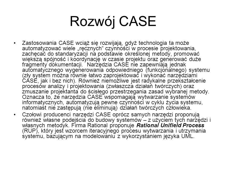 """Rozwój CASE Zastosowania CASE wciąż się rozwijają, gdyż technologia ta może automatyzować wiele """"ręcznych czynności w procesie projektowania, zachęcać do standaryzacji na podstawie określonej metody, promować większą spójność i koordynację w czasie projektu oraz generować duże fragmenty dokumentacji."""