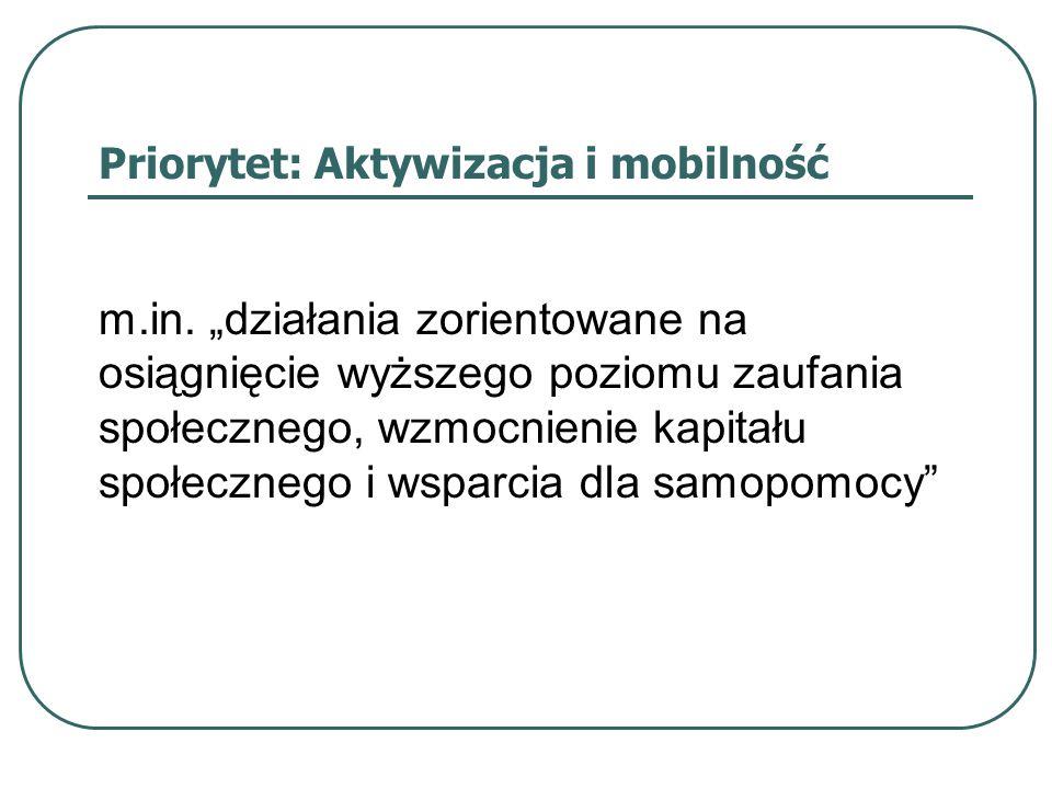 Priorytet: Aktywizacja i mobilność m.in.
