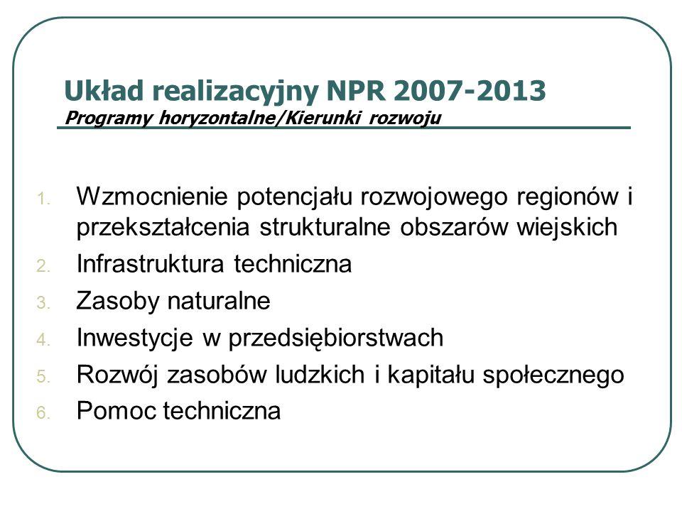 Układ realizacyjny NPR 2007-2013 Programy horyzontalne/Kierunki rozwoju 1. Wzmocnienie potencjału rozwojowego regionów i przekształcenia strukturalne