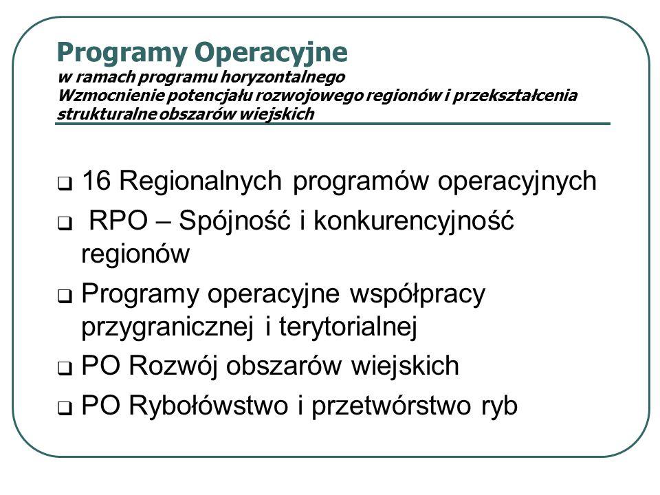 Programy Operacyjne w ramach programu horyzontalnego Wzmocnienie potencjału rozwojowego regionów i przekształcenia strukturalne obszarów wiejskich  16 Regionalnych programów operacyjnych  RPO – Spójność i konkurencyjność regionów  Programy operacyjne współpracy przygranicznej i terytorialnej  PO Rozwój obszarów wiejskich  PO Rybołówstwo i przetwórstwo ryb