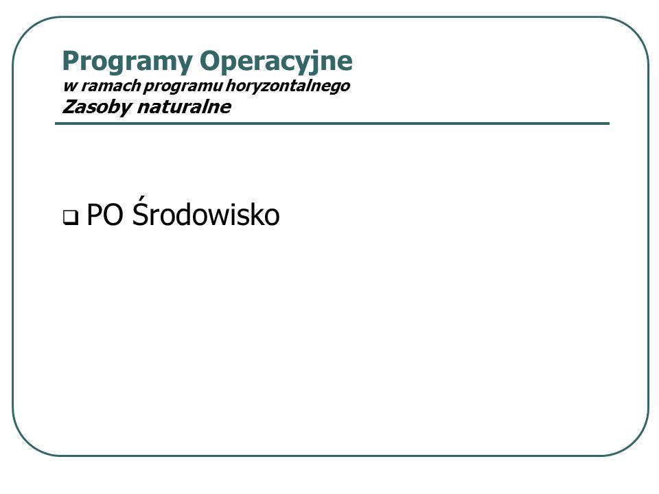 Programy Operacyjne w ramach programu horyzontalnego Zasoby naturalne  PO Środowisko