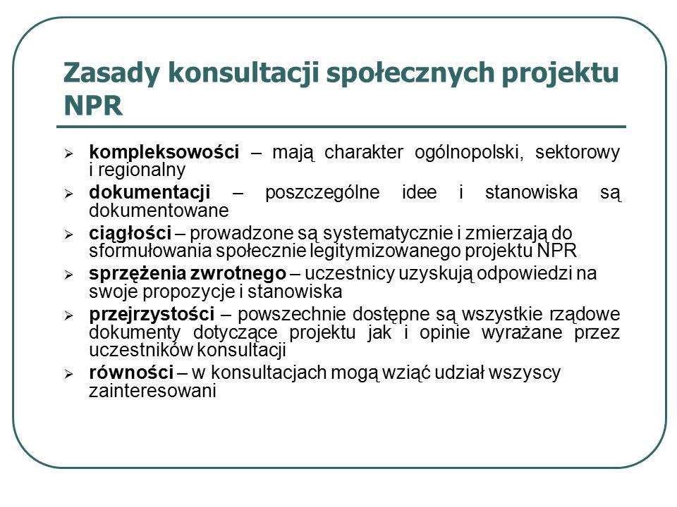 Zasady konsultacji społecznych projektu NPR  kompleksowości – mają charakter ogólnopolski, sektorowy i regionalny  dokumentacji – poszczególne idee i stanowiska są dokumentowane  ciągłości – prowadzone są systematycznie i zmierzają do sformułowania społecznie legitymizowanego projektu NPR  sprzężenia zwrotnego – uczestnicy uzyskują odpowiedzi na swoje propozycje i stanowiska  przejrzystości – powszechnie dostępne są wszystkie rządowe dokumenty dotyczące projektu jak i opinie wyrażane przez uczestników konsultacji  równości – w konsultacjach mogą wziąć udział wszyscy zainteresowani