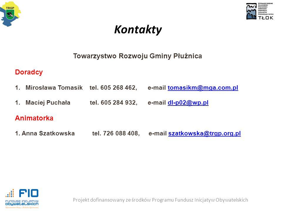 Kontakty Projekt dofinansowany ze środków Programu Fundusz Inicjatyw Obywatelskich Towarzystwo Rozwoju Gminy Płużnica Doradcy 1.Mirosława Tomasik tel.