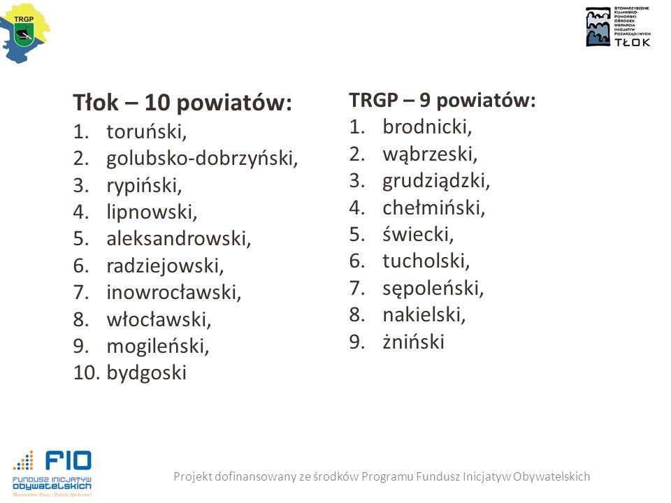 Projekt dofinansowany ze środków Programu Fundusz Inicjatyw Obywatelskich Tłok – 10 powiatów: 1.toruński, 2.golubsko-dobrzyński, 3.rypiński, 4.lipnowski, 5.aleksandrowski, 6.radziejowski, 7.inowrocławski, 8.włocławski, 9.mogileński, 10.bydgoski TRGP – 9 powiatów: 1.brodnicki, 2.wąbrzeski, 3.grudziądzki, 4.chełmiński, 5.świecki, 6.tucholski, 7.sępoleński, 8.nakielski, 9.żniński