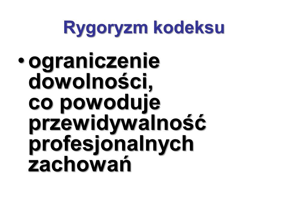Rygoryzm kodeksu ograniczenie dowolności, co powoduje przewidywalność profesjonalnych zachowańograniczenie dowolności, co powoduje przewidywalność profesjonalnych zachowań