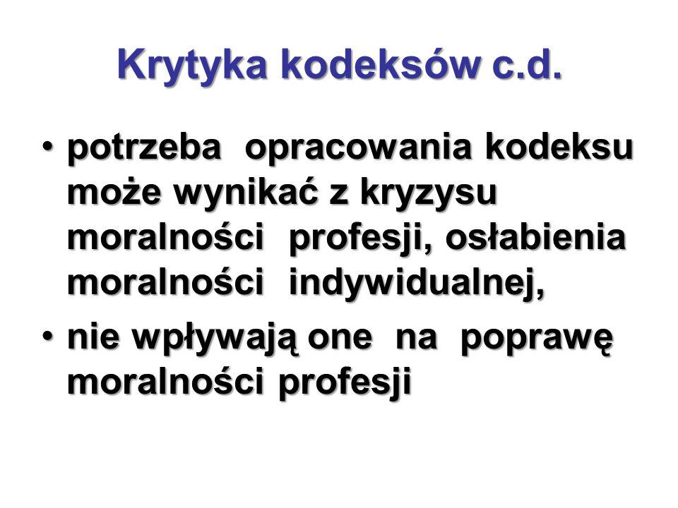 Krytyka kodeksów c.d.