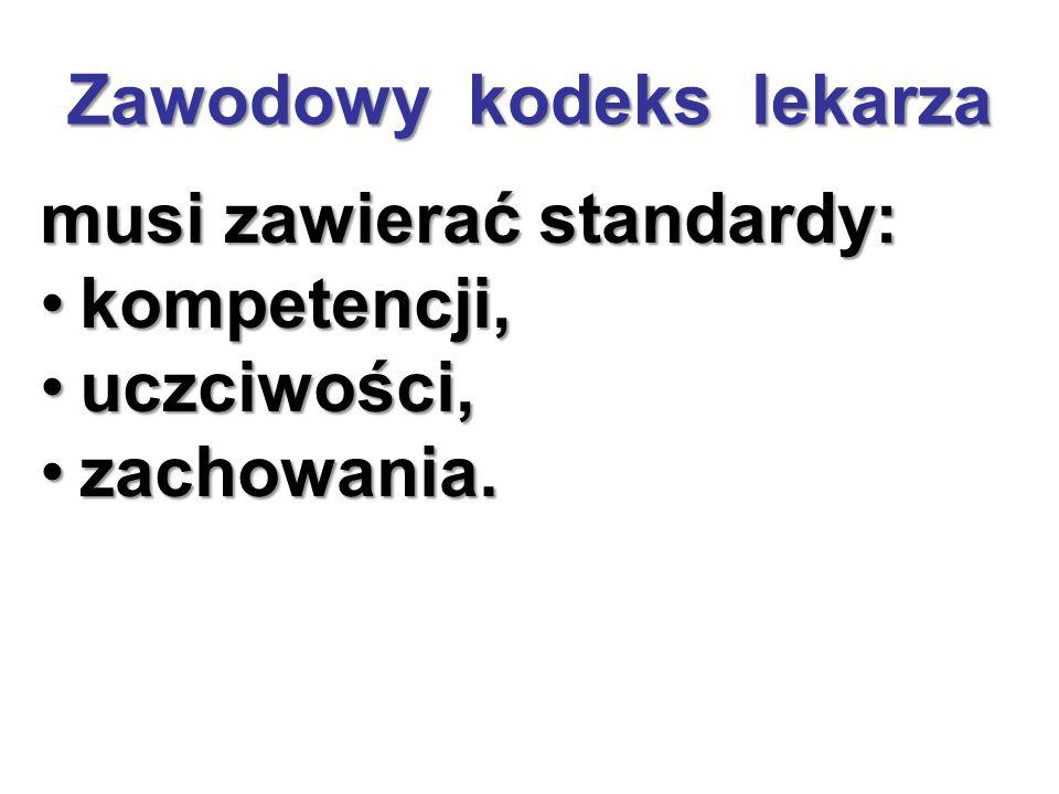 Zawodowy kodeks lekarza musi zawierać standardy: kompetencji,kompetencji, uczciwości,uczciwości, zachowania.zachowania.
