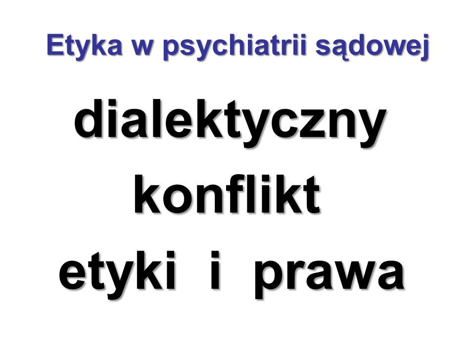 Etyka w psychiatrii sądowej dialektyczny dialektyczny konflikt konflikt etyki i prawa etyki i prawa