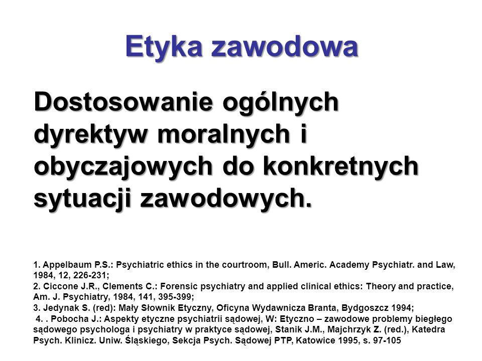 Dostosowanie ogólnych dyrektyw moralnych i obyczajowych do konkretnych sytuacji zawodowych. 1. Appelbaum P.S.: Psychiatric ethics in the courtroom, Bu
