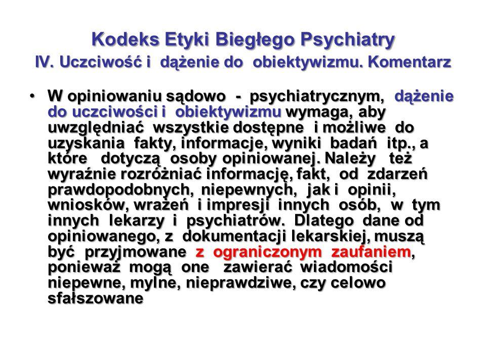Kodeks Etyki Biegłego Psychiatry IV. Uczciwość i dążenie do obiektywizmu. Komentarz W opiniowaniu sądowo - psychiatrycznym, dążenie do uczciwości i ob