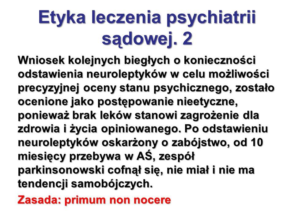 Wniosek kolejnych biegłych o konieczności odstawienia neuroleptyków w celu możliwości precyzyjnej oceny stanu psychicznego, zostało ocenione jako post
