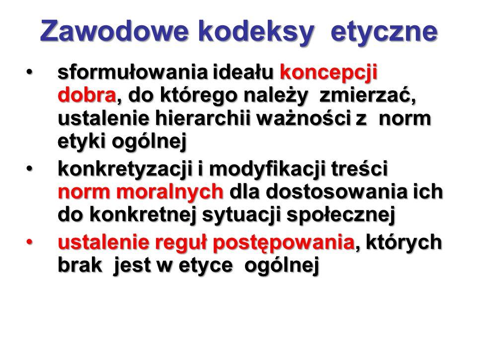 Zawodowe kodeksy etyczne, cd.