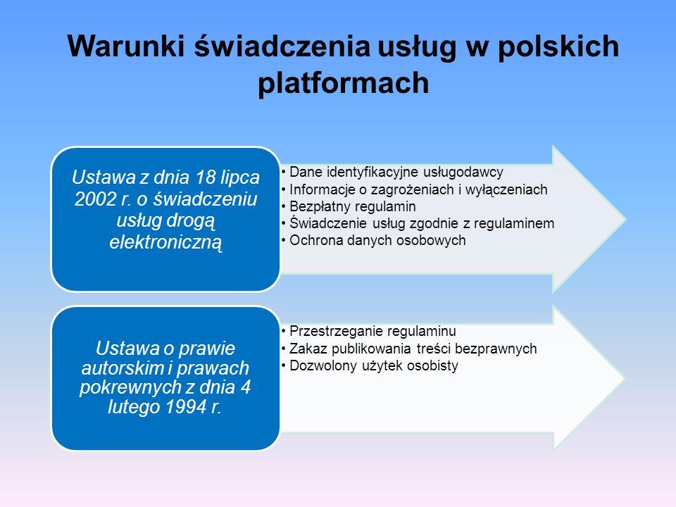 Dane identyfikacyjne usługodawcy Informacje o zagrożeniach i wyłączeniach Bezpłatny regulamin Świadczenie usług zgodnie z regulaminem Ochrona danych o
