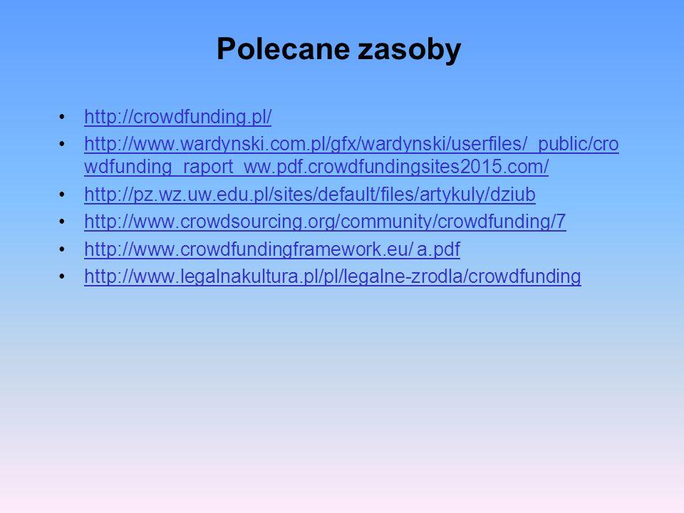 Polecane zasoby http://crowdfunding.pl/ http://www.wardynski.com.pl/gfx/wardynski/userfiles/_public/cro wdfunding_raport_ww.pdf.crowdfundingsites2015.