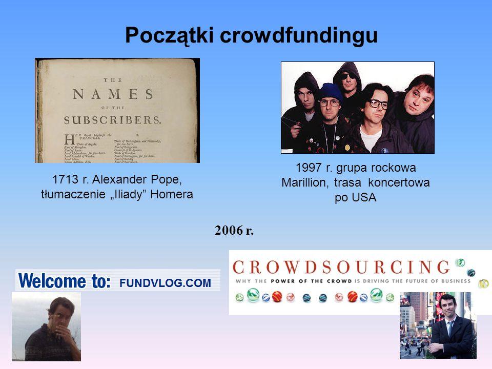 """1713 r. Alexander Pope, tłumaczenie """"Iliady"""" Homera 1997 r. grupa rockowa Marillion, trasa koncertowa po USA Początki crowdfundingu 2006 r."""