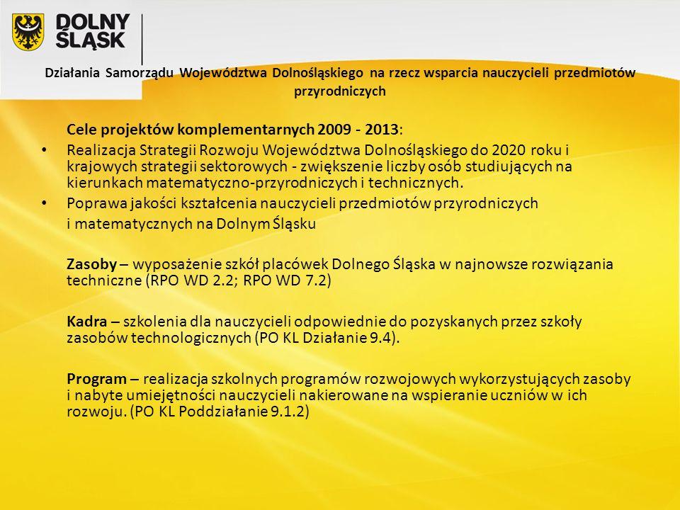 Działania Samorządu Województwa Dolnośląskiego na rzecz wsparcia nauczycieli przedmiotów przyrodniczych Cele projektów komplementarnych 2009 - 2013: Realizacja Strategii Rozwoju Województwa Dolnośląskiego do 2020 roku i krajowych strategii sektorowych - zwiększenie liczby osób studiujących na kierunkach matematyczno-przyrodniczych i technicznych.