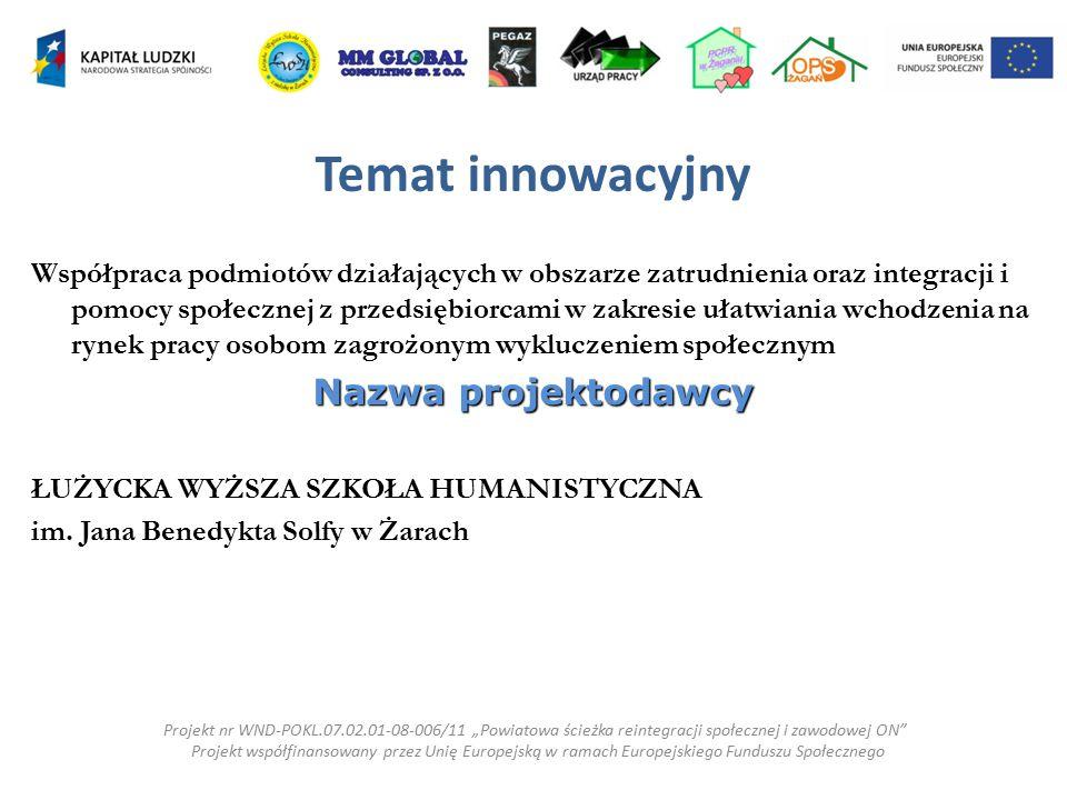 Temat innowacyjny Współpraca podmiotów działających w obszarze zatrudnienia oraz integracji i pomocy społecznej z przedsiębiorcami w zakresie ułatwian