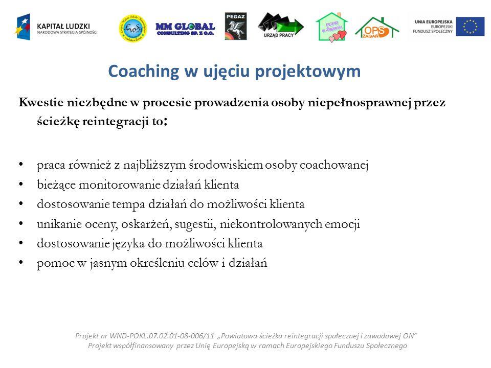 Kwestie niezbędne w procesie prowadzenia osoby niepełnosprawnej przez ścieżkę reintegracji to : praca również z najbliższym środowiskiem osoby coachow