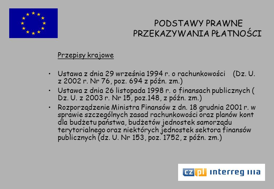 PODSTAWY PRAWNE PRZEKAZYWANIA PŁATNOŚCI Przepisy krajowe Ustawa z dnia 29 września 1994 r.