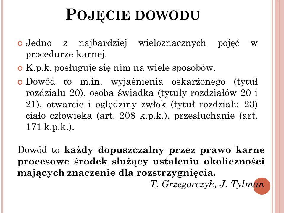 P OJĘCIE DOWODU 1.Źródło dowodowe – źródło informacji o faktach; 2.