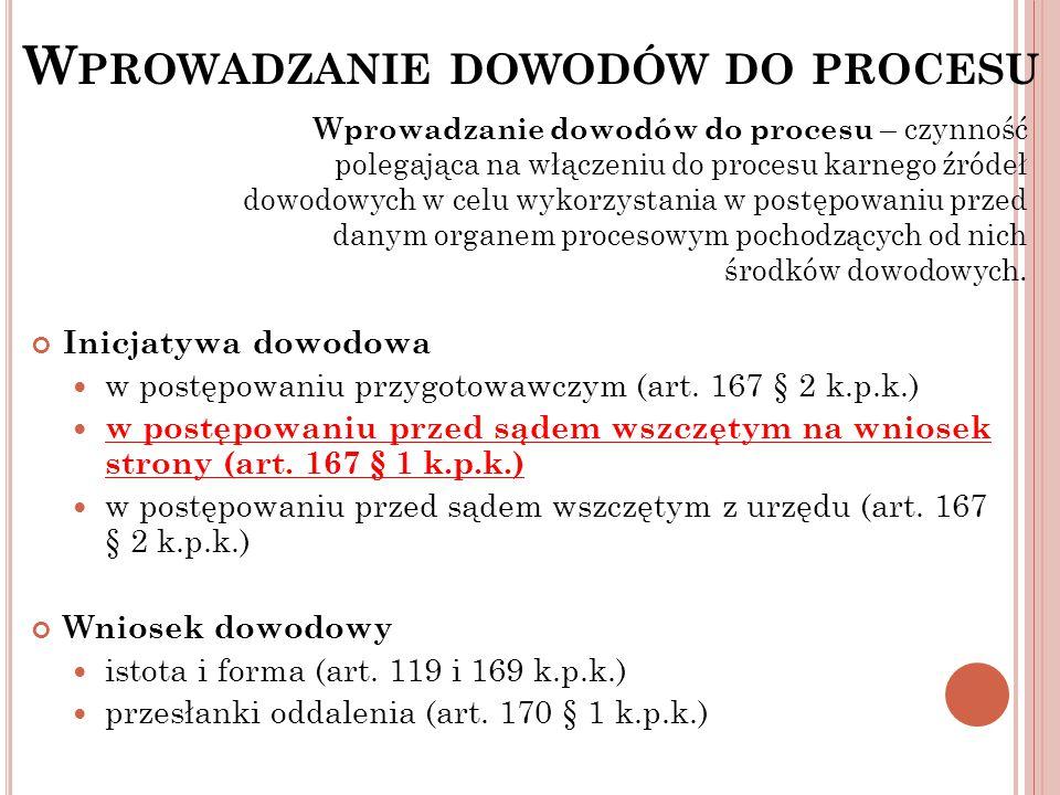 W PROWADZANIE DOWODÓW DO PROCESU Inicjatywa dowodowa w postępowaniu przygotowawczym (art. 167 § 2 k.p.k.) w postępowaniu przed sądem wszczętym na wnio