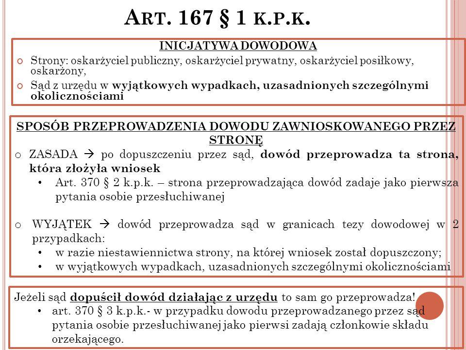 A RT. 167 § 1 K. P. K. INICJATYWA DOWODOWA Strony: oskarżyciel publiczny, oskarżyciel prywatny, oskarżyciel posiłkowy, oskarżony, Sąd z urzędu w wyjąt