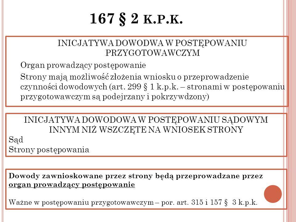 167 § 2 K. P. K. INICJATYWA DOWODWA W POSTĘPOWANIU PRZYGOTOWAWCZYM Organ prowadzący postępowanie Strony mają możliwość złożenia wniosku o przeprowadze