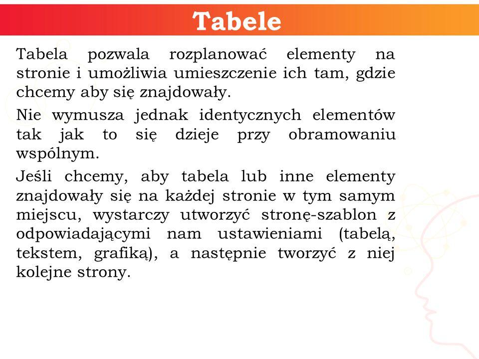 Tabele Tabela pozwala rozplanować elementy na stronie i umożliwia umieszczenie ich tam, gdzie chcemy aby się znajdowały.