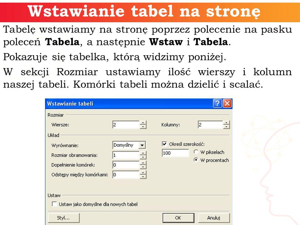 Wstawianie tabel na stronę Tabelę wstawiamy na stronę poprzez polecenie na pasku poleceń Tabela, a następnie Wstaw i Tabela.