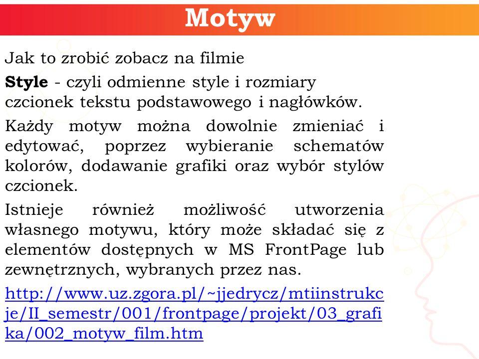 Motyw Jak to zrobić zobacz na filmie Style - czyli odmienne style i rozmiary czcionek tekstu podstawowego i nagłówków.