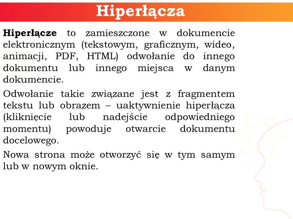 Hiperłącza Hiperłącze to zamieszczone w dokumencie elektronicznym (tekstowym, graficznym, wideo, animacji, PDF, HTML) odwołanie do innego dokumentu lub innego miejsca w danym dokumencie.