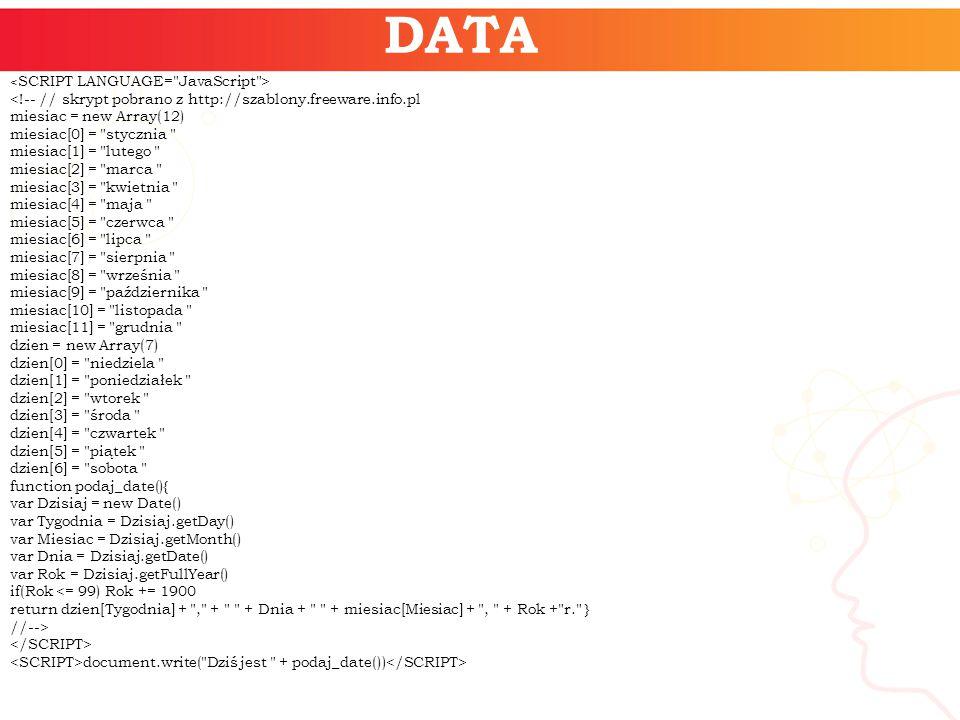 DATA document.write( Dziś jest + podaj_date())