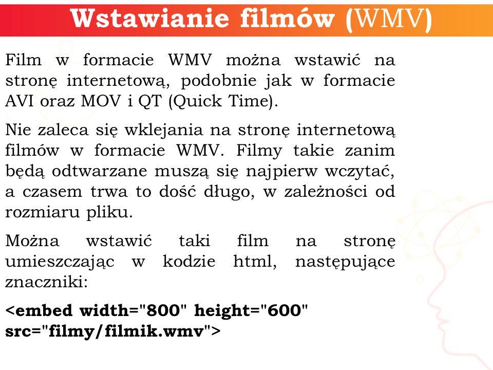 Wstawianie filmów ( WMV ) Film w formacie WMV można wstawić na stronę internetową, podobnie jak w formacie AVI oraz MOV i QT (Quick Time).
