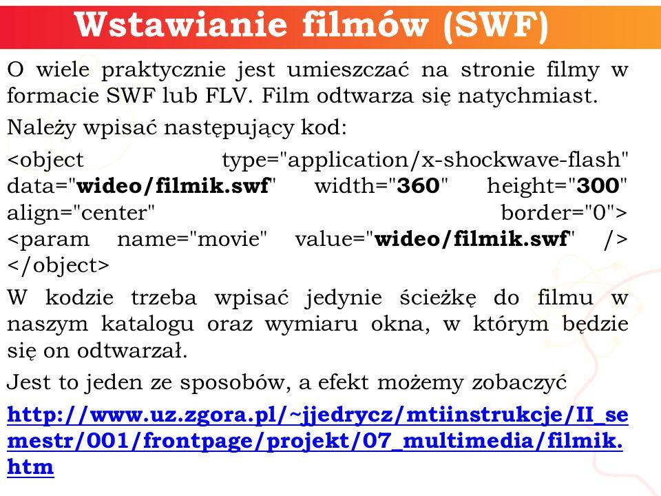 Wstawianie filmów (SWF) O wiele praktycznie jest umieszczać na stronie filmy w formacie SWF lub FLV.