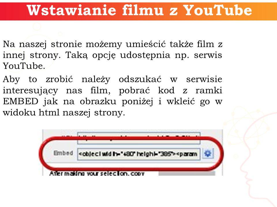 Wstawianie filmu z YouTube Na naszej stronie możemy umieścić także film z innej strony.