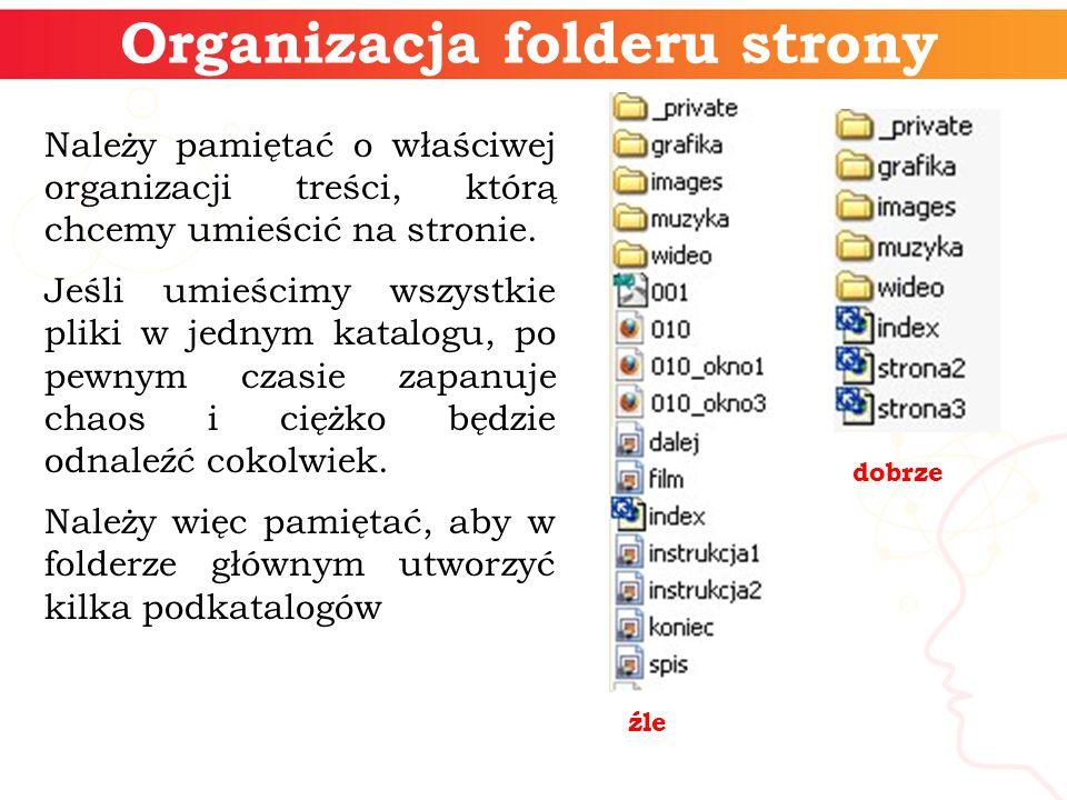 Organizacja folderu strony Należy pamiętać o właściwej organizacji treści, którą chcemy umieścić na stronie.